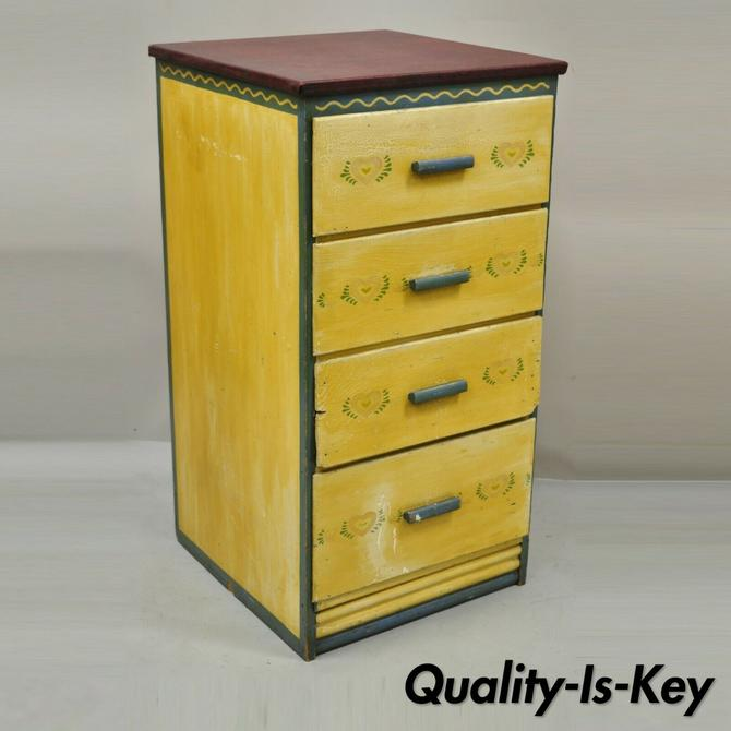 Antique Shabby Chic Yellow Green Distress Painted 4 Drawer Dresser Nightstand