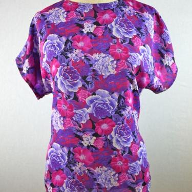 Purple and Pink Floral Rose Blouse by citybone