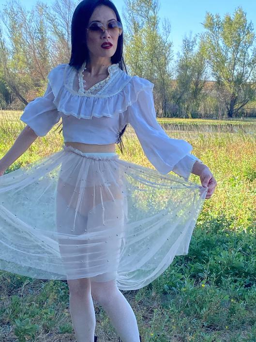 Vintage GUNNE SAX Prairie blouse top, Gunne Sax romantic ruffled top, off white sheer ruffled top, size 5 by ShopRVF
