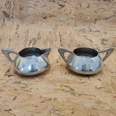 Norwegian Mid Century Pewter Creamer and Sugar Bowl Set