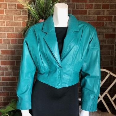 1980s Cropped Shoulder Pad Teal Leather Jacket