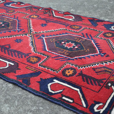 "Vintage Dark Red Hand Knotted Persian Afgan Kazak Style Area Rug  -  2' 7"" x  4' 4"" by SourcedModern"
