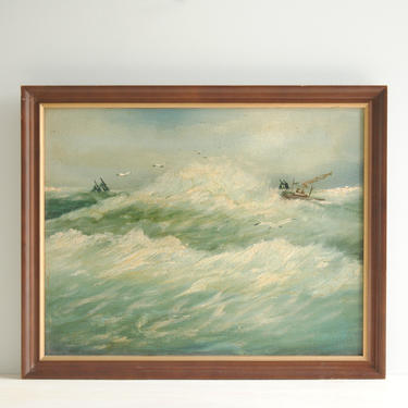 Vintage Nautical Ocean Painting of Waves and Ships, Original Seascape Oil Painting, Oceanscape Painting, Ocean Waves Original Oil Painting by LittleDogVintage