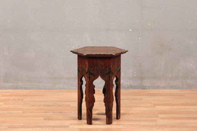 Moroccan Carved Hexagonal Side Table