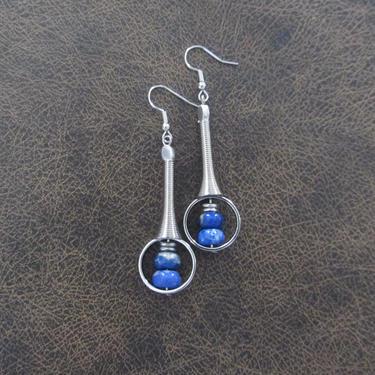 Imperial jasper earrings, modern earrings, unique statement earrings, royal blue earrings, contemporary chic earrings, industrial by Afrocasian