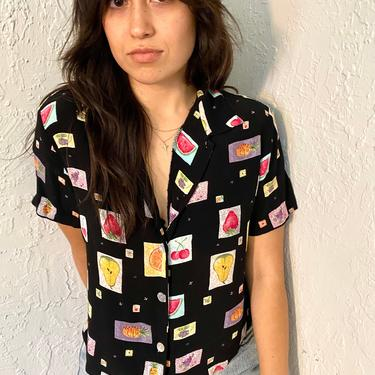 90s Vintage Black / Fruit Print Short Sleeve Button Up Blouse - Boxy Oversized Fit Top - Cute Summer  Shirt by LittleSparkVintage