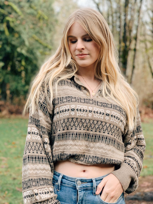 Vintage Grandpa Sweater / Tan Oversized Winter Sweater by MadroneClothing