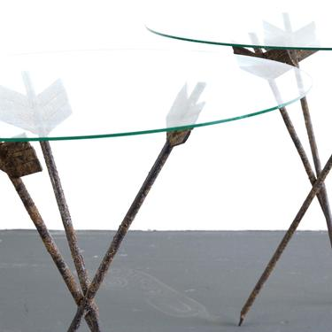 Set of Two Perfectly Patina'd Arrow End / Side Tables in Metal with Glass Tops by ABTModern