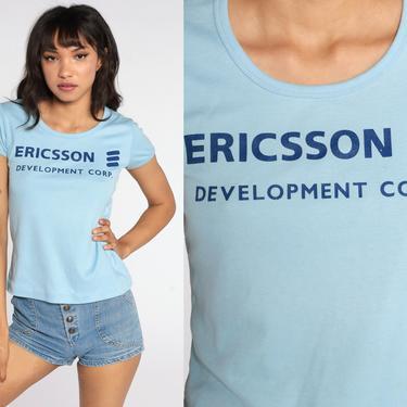 70s Shirt Ericsson Company Shirt Telecommunications Corp Girly Baby Tee Tshirt 1970s Vintage 80s Slogan Graphic Baby Blue Medium by ShopExile