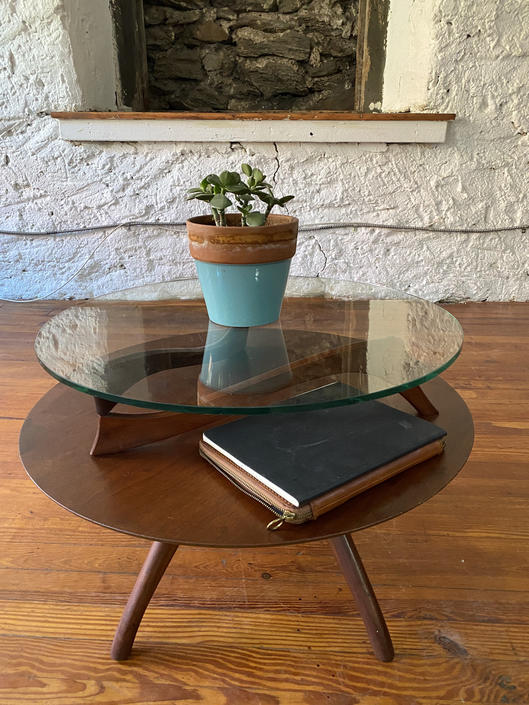 Mid century end table Danish modern glass top end table Vladimir Kagan side table by VintaDelphia