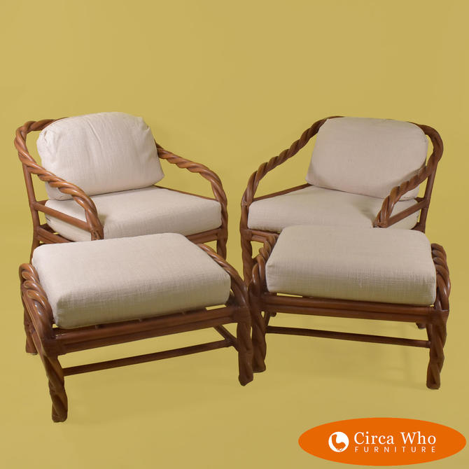 Pair of Twisted Rattan Club Chairs With Ottomans