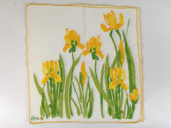 Vintage 1960s Vera Neumann Napkins Set of Three (3) Daffodil Flowers Yellow Green Leaves Mid-Century 1970s Retro Vintage 100% Cotton by CheckEngineVintage