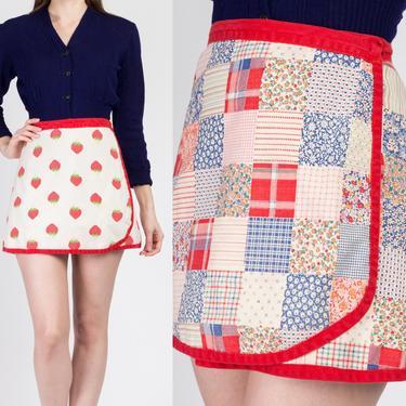 70s Strawberry Patchwork Reversible Mini Wrap Skirt - Extra Small | Vintage A Line Boho Cotton Miniskirt by FlyingAppleVintage