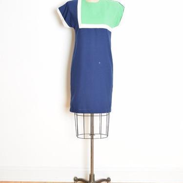 vintage 80s dress navy green color block mod mondrian futuristic midi dress S clothing by huncamuncavintage