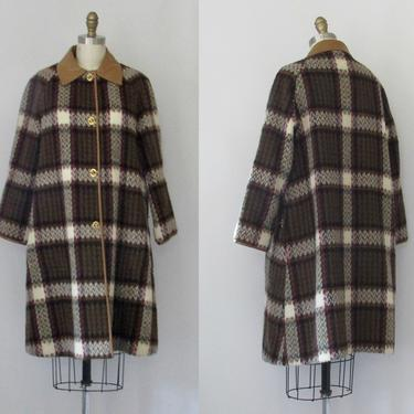 PLAID ALLOVER Bonnie Cashin Sills Vintage 60s Coat | 1960s Wool Tent A Line Overcoat | 70s 1970s Mid Century American Designer | Size Medium by lovestreetsf