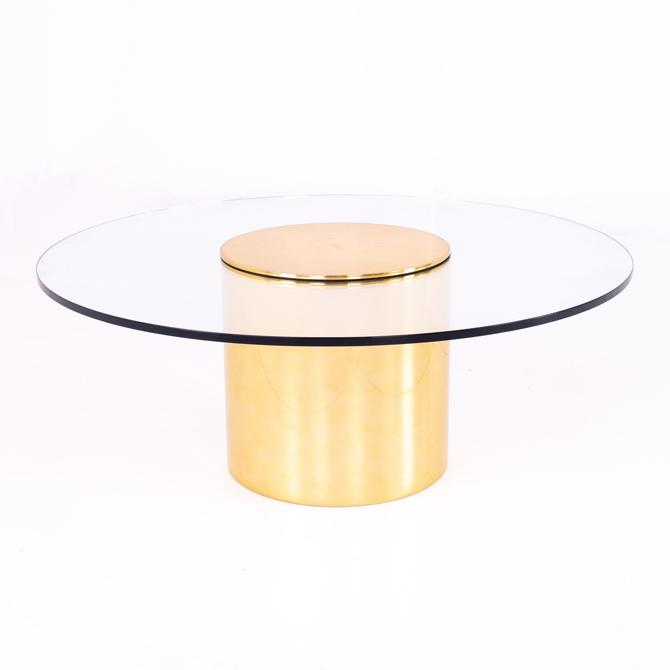 Paul Mayen for Habitat Mid Century Brass and Glass Drum Barrel Coffee Table - mcm by ModernHill