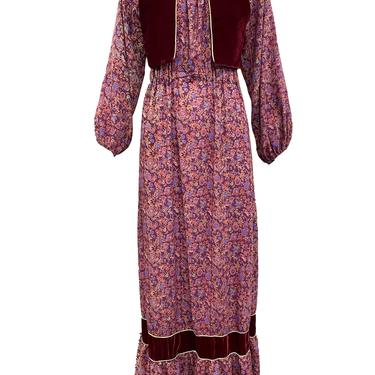 70s Peasant Maxi Dress in Burgundy Floral with Velvet Vest