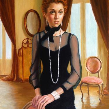 Portrait of an Edwardian Lady. Archival Art Print from Original Oil Painting by Pat Kelley. Female Figure, Romantic Art, Vintage Style by PatKelleyStudio