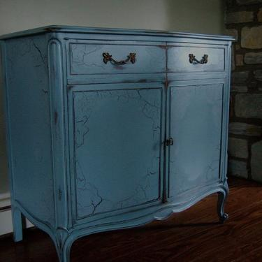 Antiqued French buffet and wine cabinet in an Antiqued French Blue by Artisan8