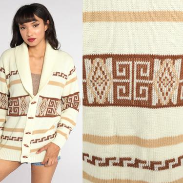 Boho Cardigan Striped Sweater 70s Hippie Sweater Cream Brown Striped 1970s Bohemian Toggle Button Up dyed Aztec Sweater Men's Large by ShopExile