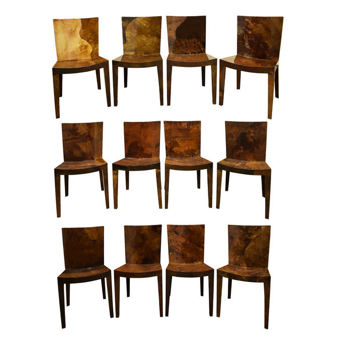 """Karl Springer Set of 12 """"JMF Dining Chairs""""  In Lacquered Goatskin 1980"""