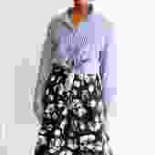 RtA Brand Striped Button Up Shirt, Size M