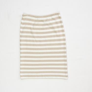 Wren Skirt — vintage cotton skirt / 70s fuzzy terrycloth elastic waist midi skirt / large minimalist beige, white striped below knee skirt by fieldery