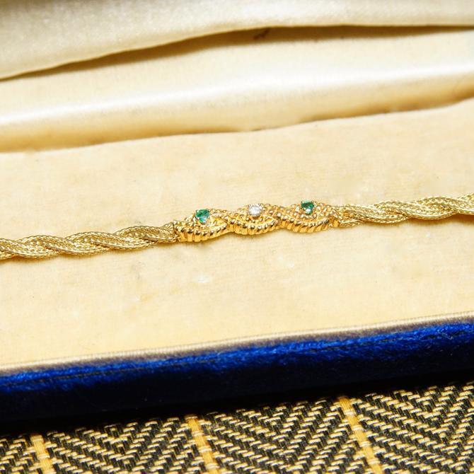 "Vintage 14K Yellow Gold Diamond Emerald Bar Bracelet, 4mm Braided Gold Link Chain, .03CT Diamond & Emerald Stones, Elegant 585 Jewelry, 7"" L by shopGoodsVintage"