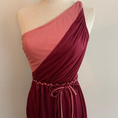 Funky color block one shoulder grecian disco dress-Size XS/S by MartinMercantile