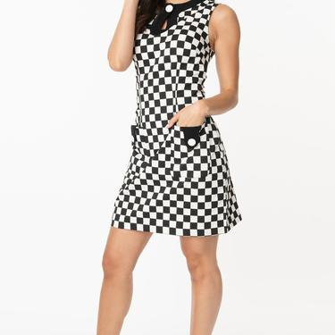 Smak Parlour 1960s Style Black & White Check Mod Dress