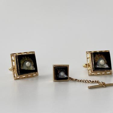 Vintage Swank Cufflinks & Tie Tack Set, Half Sea Shell Design with inner Pearl by PrimaForme