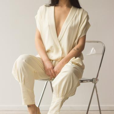 1980s Cream Knit Pleated Vest by waywardcollection