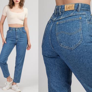 "Vintage 90s High Waist Lee Jeans - Small, 26"" | Medium Wash Denim Slim Tapered Leg Mom Jeans by FlyingAppleVintage"