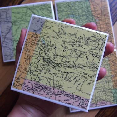 1947 North Dakota South Dakota Handmade Repurposed Vintage Map Coasters Set of 4 - Ceramic Tile - Repurposed 1940s Atlas - Dakotas by allmappedout