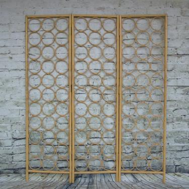 SHIPPING NOT FREE!!! Vintage  Room Divider/Bamboo Room Divider/Screen/ Headboard/Wall Art in light yellow color by WorldofWicker