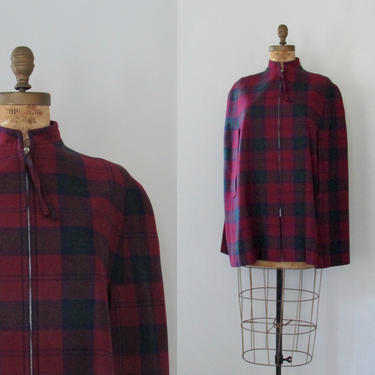LONDON CALLING Vintage 70s Archie Brown Cape   1970s British Burgundy Wool Tartan Plaid Cape Coat   60s 1960s Mod,Preppy , Size Small Medium by lovestreetsf