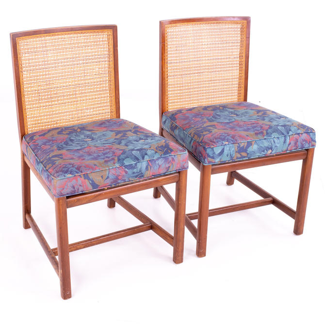 Michael Taylor for Baker Mid Century Caned Walnut Dining Chairs - Pair - mcm by ModernHill