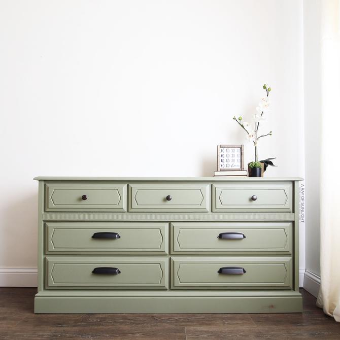 Olive Green Painted Dresser - Farmhouse Decor - Mid Century Modern - Modern Farmhouse - Painted Furniture - Nursery Decor - Vintage Dresser by ARayofSunlight