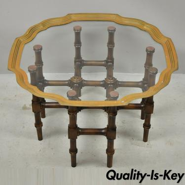 Chinese Chippendale Faux Bamboo Campaign Scalloped Edge Brass Tray Coffee Table