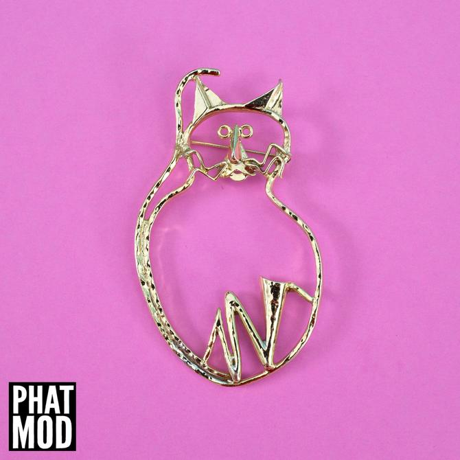 AWESOME Vintage 80s 90s Gold Abstract Cat Brooch by RETMOD