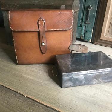English Leather Saddle Sandwich Case, Huntsman Case, Equestrian Fox Hunting by JansVintageStuff