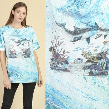 90s Dolphin All Over Print Tee - Large | Vintage Blue Graphic Ocean T Shirt by FlyingAppleVintage