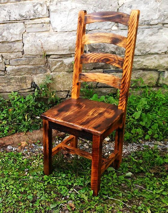 Burnt Oak Reclaimed Wood Arched Slat Rustic Dining Chairs by BarnWoodFurniture