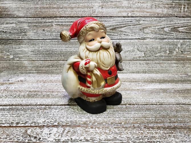 Vintage Santa Claus Bank, 1970's Piggy Bank, Homco Santa w/ Teddy Bear & Candy Cane, Ceramic Coin Bank, Christmas Decor, Vintage Christmas by AGoGoVintage
