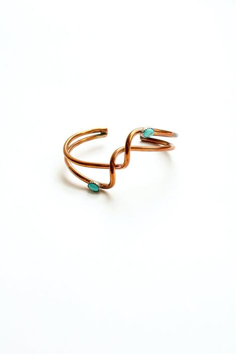 Vintage Copper + Turquoise Spiral Cuff