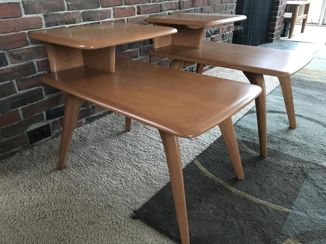 Vintage Heywood Wakefield End Tables, two tier, Champaign Finish by MidCenturyModHome