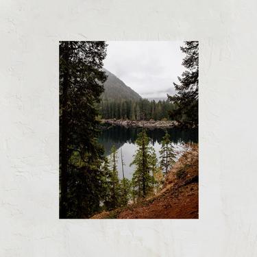 PNW Mountains Print, Washington Mountain Art, Minimalist Art Print, Simple Mountain Scene, Woodsy Mountains, Moody Landscape, Lake and Trees by cedargrey