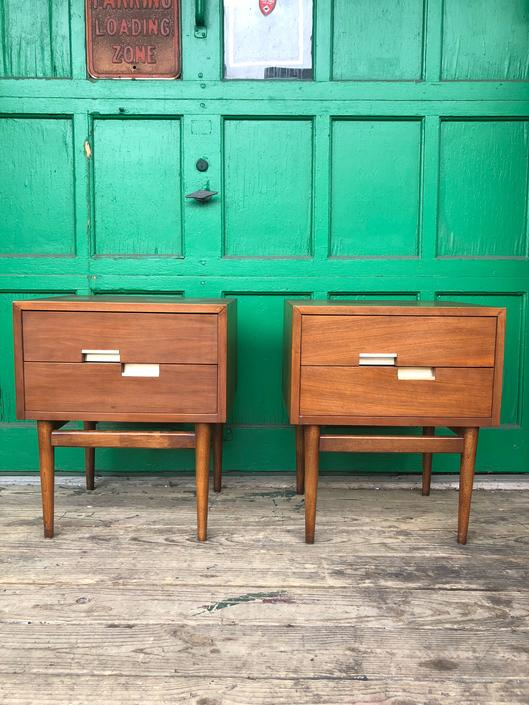 Pair Mid Century Nightstands with Two Drawers