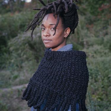 Wool Cool Breeze Capelet/Ebony Wool Poncho /Chunky Crochet Capelet/Wool Shag Neckwarmer/Black Capelet with Fringe by KonjoCrochet