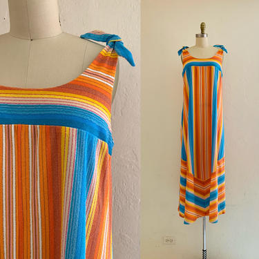 vintage 70's striped terry maxi dress // striped lounge dress by HarlowsVintage